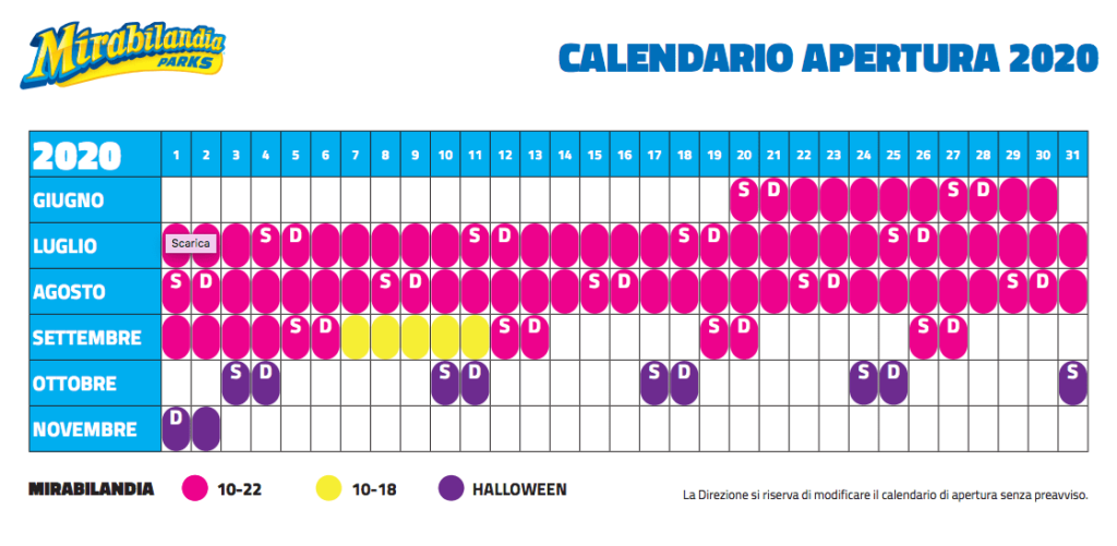 Calendario Mirabilandia Settembre 2021 Calendario Mirabilandia 2020   Fulvio e Simona   Specialisti